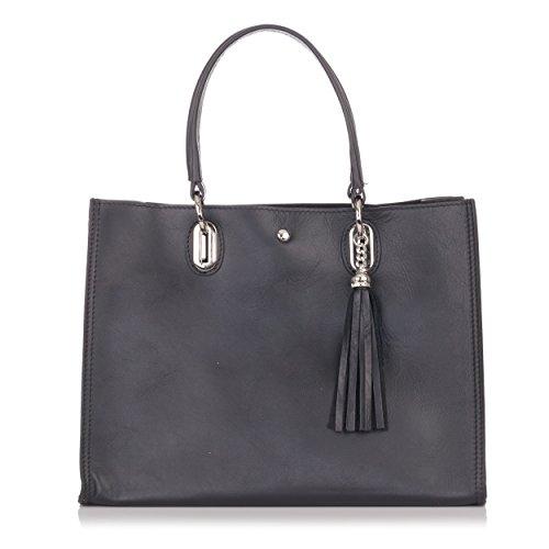 Laura Moretti - Handtasche aus Leder mit Quastenanhänger Schwarz