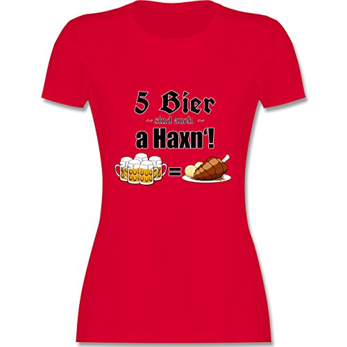 Oktoberfest Damen - 5 Bier sind auch a Haxn'! - tailliertes Premium T-Shirt mit Rundhalsausschnitt für Damen Rot