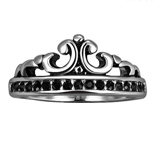 ing Bandring Silber Schwarz Königliche König Krone Strass Linie Retro Herren - Größe 57 (Halloween-tag-linien)