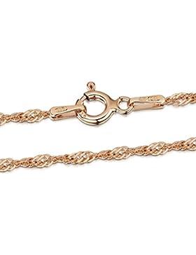 Amberta 925 Sterlingsilber 14K Roségold Damen-Halskette - Singapurkette - 2 mm Breite - Verschiedene Längen: 40...
