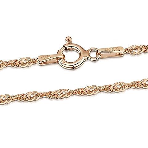 Amberta® Bijoux - Collier - Chaîne Argent 925/1000 - Plaqué Or Rosé 14K - Maille Singapour - Largeur 2 mm - Longueur 40 45 50 55 60 70 cm (40cm)