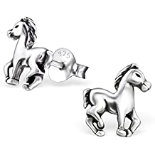 Laimons Kinder-Ohrstecker Pferd Ponny oxidiert Sterling Silber 925