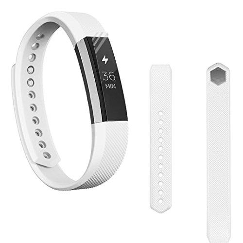 Preisvergleich Produktbild Sansee Ersatz-Armband Silikon-Gürtelschnalle + Schutzfolie für Fitbit Alta HR (Silikonband + Folie) (Weiß)