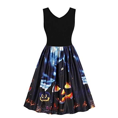 80 Prom Kostüm Nacht - ReooLy Frauen Sleeveless V-Ausschnitt Wine Halloween-Kürbis-Schwarze Katze Geist Nacht auf Prom Kostüm-Schwingen-Kleid-Rock