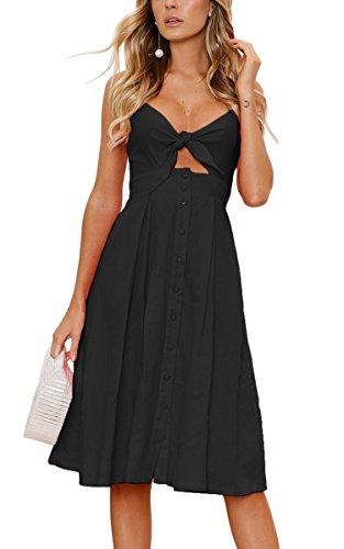 Seidiges Kleid (ECOWISH Damen V Ausschnitt A-Linie Kleid Träger Rückenfreies Kleider Sommerkleider Strandkleider Knielang Schwarz L)