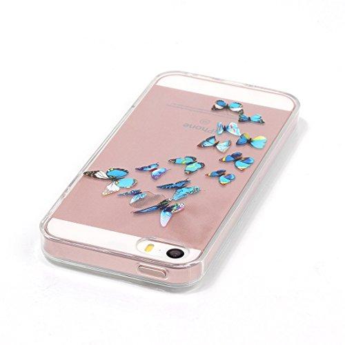 Pheant®[4 in 1] Apple iPhone SE/5S/5 Coque Gel en Souple Silicone Transparent Cas avec Verre Trempé Protecteur d'écran Stylet Bouchon Anti-poussière(éléphant) Papillon Bleu