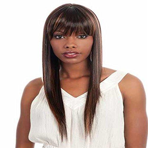 Longlove nautural medio nero liscio Morbidezza capelli umani parrucca per