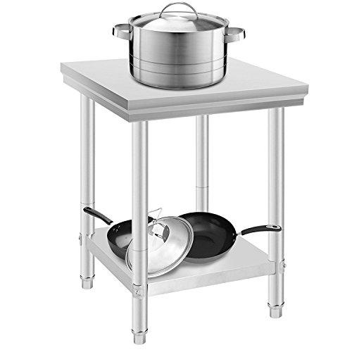 Summile Arbeitstisch aus Edelstahl, für Küche, Gastronomie, Arbeitsplatte, Essensvorbereitung, 61 x 61 x 86,4 cm, mit Hintergrundbeleuchtung