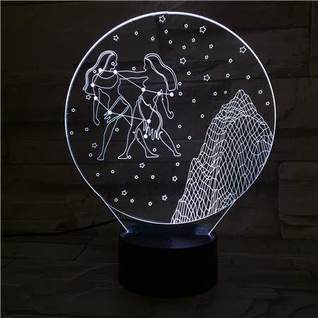 Kjfgkf @ 3D Nachtlicht Nachtlicht Led Touch Sensor 7 Farbwechsel Kinder Baby Nachtlicht Geschenk Gemini Tischlampe Schreibtisch (Gemini-schiff)