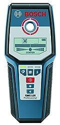 Bosch Professional Digitales Ortungsgerät GMS 120 (1x 9 V Block Batterie, max. Ortungstiefe Stahl/Kupfer/stromführende Leitungen: 120/80/50 mm, in Schutztasche)