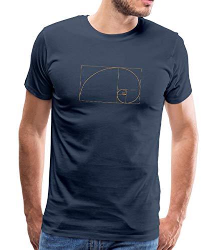 Spreadshirt Goldener Schnitt - Fibonacci Spirale - Phi - Folge T-Shirts Männer Premium T-Shirt, M, Navy -