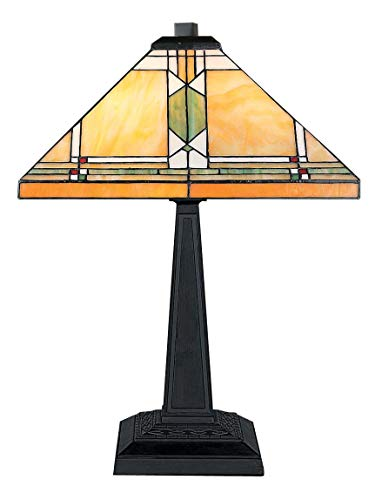 Ellas-Wohnwelt Retro Tiffany Tischlampe im Stil des Art-Deco mit eckigem Schirm