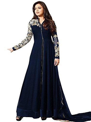 Vastra Fashion Women's Georgette Salwar Suit Set (Vf01 Western Hot Blue_Blue_Free Size)