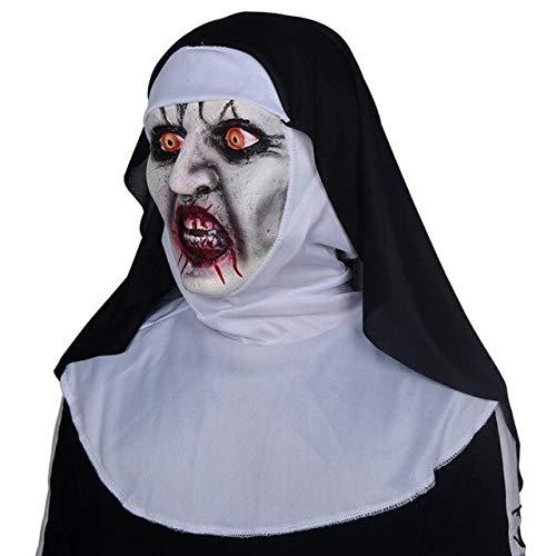 1Die Nonne Horror Maske LED Cosplay Valak Scary Latex Masken mit Kopftuch Schleier Kapuze Integralhelm Kostüm Halloween Prop, Keine LED