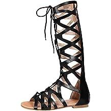uirend Zapatos Mujer Sandalias - Mujeres Gladiador Sandalias Romano Rodilla Alto Cremallera Cordones Peep Toe Plano