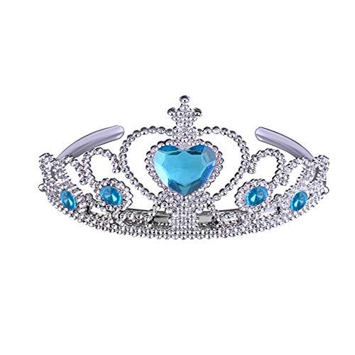 Königin Prinzessin Pageant Tiara Gefrorene ELSA Crown Tiara und Zauberstab Set - Silber Herz Juwel Brautkrone Stirnband Haarschmuck Schmuck (Farbe : Blau)