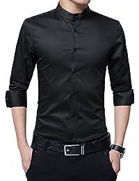 Sliktaa Hommes Chemises Mince Repassage Facile Manches Longues Formelles  Basic Business Loisirs Mariage Tuxedo Chemises 100%… 26caa26d0f4d