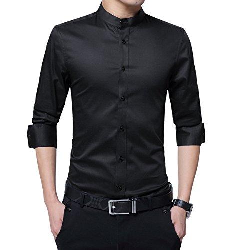 Sliktaa Hemd Herren Stehkragen Slim Fit Langarm Business Hochzeit Formale Shirt Smoking Baumwolle (Smoking Baumwolle)