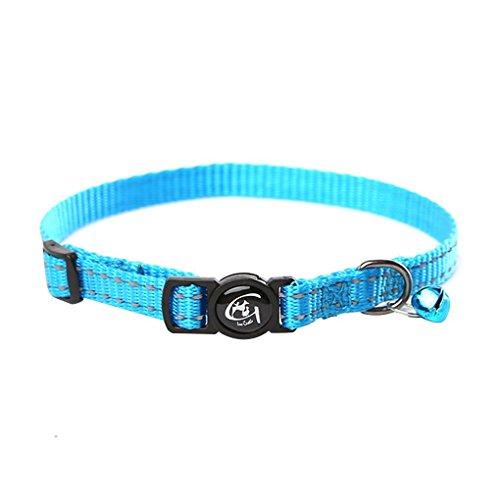 Morza Reflektierendes Katzenhalsband mit Glocke Nylon Hundehals Gürtel Kragen-Streifen-Welpen Hals Seil Cordgewebe