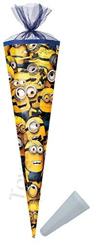 Schultüte - Minions - 85 cm - Tüllabschluß - Zuckertüte - mit / ohne Kunststoff Spitze - für Mädchen & Jungen - Minion - ich einfach unverbesserlich