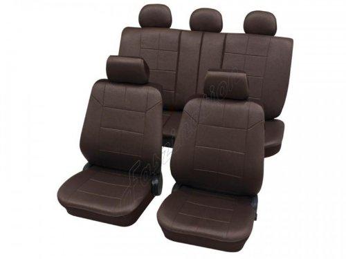 Preisvergleich Produktbild Sitzbezug Schonbezug Autositzbezug Lederlook-Optik 156 ohne, Komplett-Set Volvo S70 / V70, 2er Serie, 3er Serie, 7er Serie, 9er Serie, Alfetta, Braun Braunrot