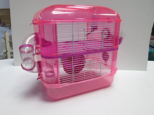 Fantazia Hamster cage small animal cage with glitter (2 Storey, Purple)