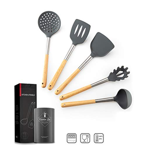 Zeattain Utensilios de cocina de silicona,juego de 10 juegos de utensilios de cocina, 100% FDA