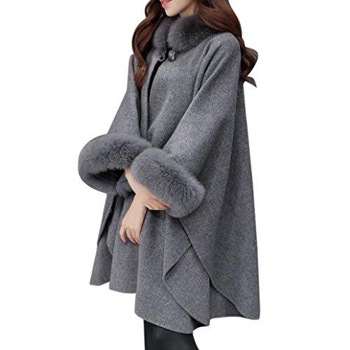 Resplend Mode Frauen Jacke Beiläufig Wolle Outwear Pelzkragen Neun Punkte Lange Ärmel Punkte Wollmantel Umhang Mantel Pelzkragen Strickjacke (Grau, M)