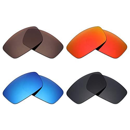 Mryok 4Paar Polarisierte Ersatzgläser für Spy Optic Logan Sonnenbrille-Stealth Schwarz/Fire Rot/Ice Blau/Bronze Braun