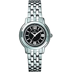 GROVANA 5581.1137 Women's Quartz Swiss Watch with Black Dial Analogue Display and Silver Stainless Steel Bracelet