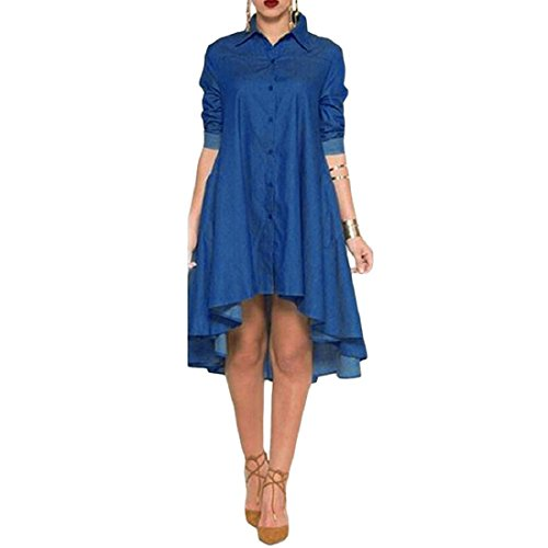 Rcool Frauen Langarm Jeans Denim Slim Tasche Kleid (M, (Slim Zara Kostüm)
