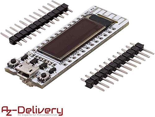 AZDelivery NodeMCU ESP8266-12E con pantalla OLED CP2102 WLAN WIFI Tarjeta de Desarrollo para Arduino con eBook incluido