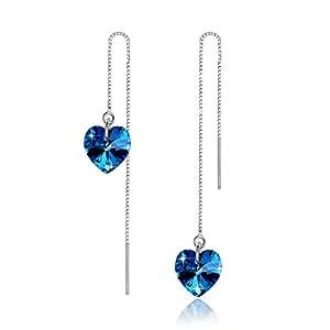 """LOVE&CLOVER –""""Eternal Heart"""" Orecchini pendenti da donna Cuore Blu, argento Sterling 925"""