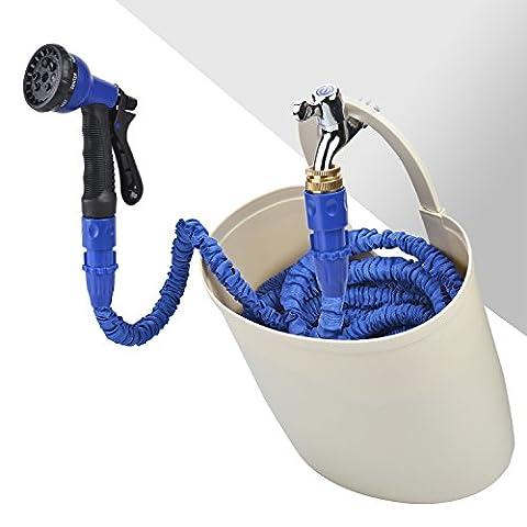 Domire 100FT erweiterbar Garten Schlauch Rohr mit Garten Schlauch halterung Eimer, erweitert 2017Update Tropf-Double Layer Expanding Gartenschlauch, Sprayer, Super 7Einstellung Schlauch Rohr, bis zu 30Meter/100ft, blau