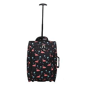 5 Cities Cabin 55x40x20cm Bolsa Trolley equipaje de mano adecuadas, 42 litros (Flamencos Negro)