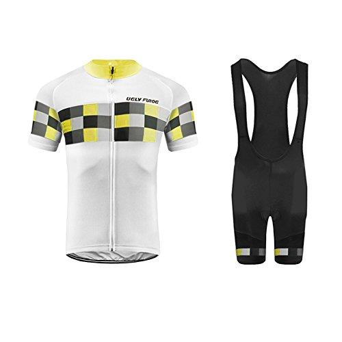 Uglyfrog+ Radsport Bekleidung Herren Kurzarm Set für Sommer Radfahren Bequem Schweiß Durchgehender Reißverschluss mit 3 Taschen XSNX06F