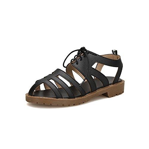 VogueZone009 Donna Puro Allacciare Punta Aperta Tacco Basso Heeled-Sandals Nero