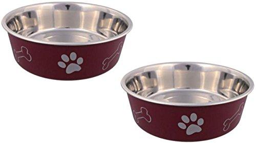 Cajou 2 er Set Edelstahlnapf - Futternapf und wassernapf für Hunde und Katzen (450 ml, rot)