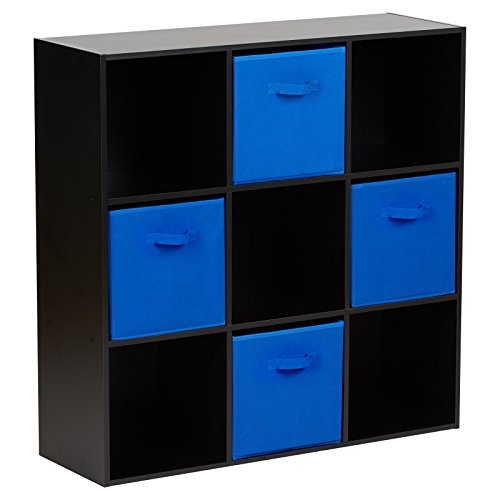 Hartleys Würfelregal in Schwarz, mit 9Fächern u. 4Schubkästen in Blau