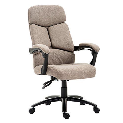 HOMCOM High Back Swivel Chair Adjustable Linen Computer Seat Executive Armrest Chair Home Office Furniture Swivel Light Brown