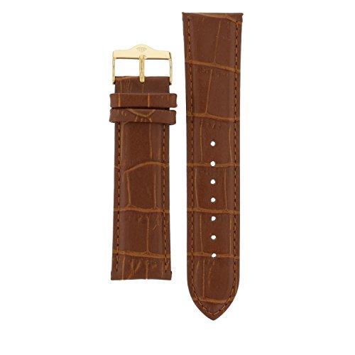 Yves Camani Nautilus 21 mm Uhren-Armband Braun Leder Vergoldete Edelstahl-Dornschließe Neu AB_025