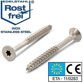 Edelstahl TORX Senkkopf-Schraube aus V2A 8-mm stark 100-mm Schrauben-Länge 25 Stück 80-mm Teil-Gewinde Holz-Schraube 8x100