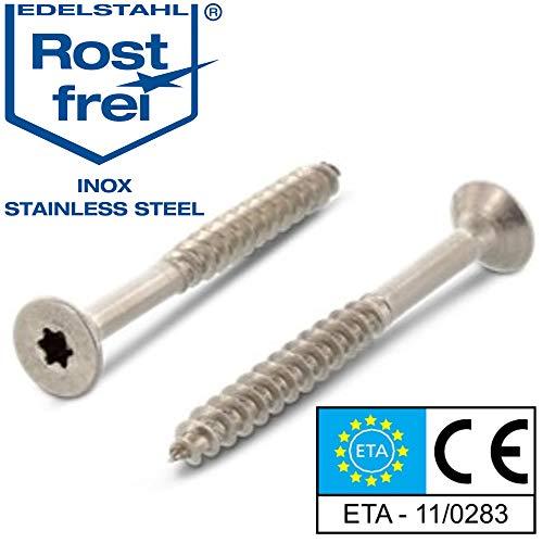 Edelstahl TORX Senkkopf-Schraube aus V2A 5 mm stark 50 mm Schrauben-Länge 50 Stück 30 mm Teil-Gewinde Holz-Schraube 5x50