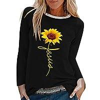 Sceoyche Womens Casual Sunflower Print Shirts O-Neck Long Sleeve Top Loose T-Shirt Blouse