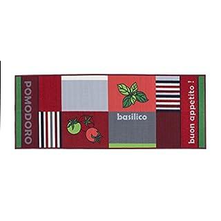 Andiamo Kitchen rug olive tomato lemon, non slip runner, washable, durable, rubber back, three designs, in various sizes, Size:67x250cm, Colour:Tomate