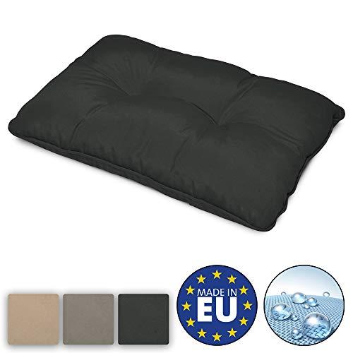 Beautissu Flair Lounge Outdoor Kissen wasserabweisend Rückenkissen 60x40x12 cm Graphitgrau Kissen für draußen Polster für Rattan und Gartenmöbel