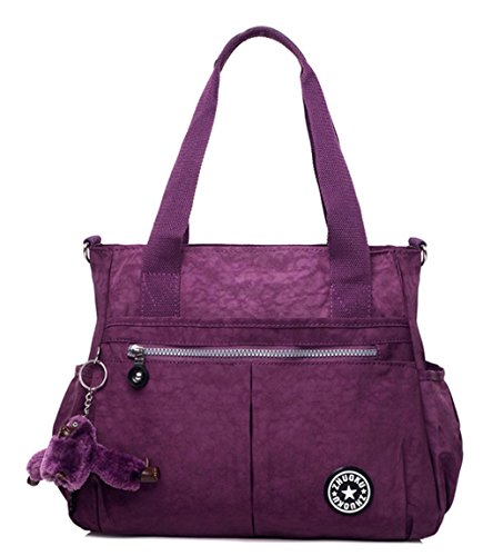 Nylon impermeabile Retro spalla delle donne del sacchetto di Totes Satchels , brilliant purple