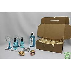 DonRegaloWeb Cesta Gin tonic con todos los utensilios necesarios para cócteles con Bombay Sapphire