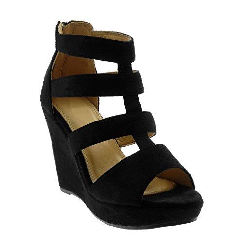 Angkorly Damen Schuhe Sandalen Mule - Peep-Toe - Plateauschuhe - Römersandalen - Multi-Zaum Keilabsatz High Heel 11 cm - Schwarz S82 T 38