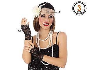 Atosa-62928 Atosa-62928-Accesorio-Set Guantes Y Diadema, Color negro, Talla única (62928